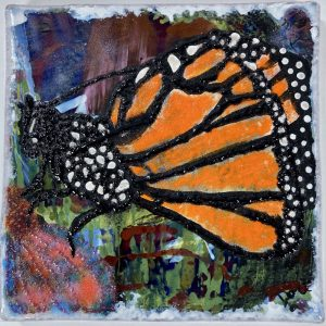 Enamel Painting of a Monarch Butterfly by Dori Settles